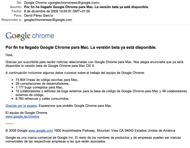 Email De Aviso Del Nuevo Google Chrome