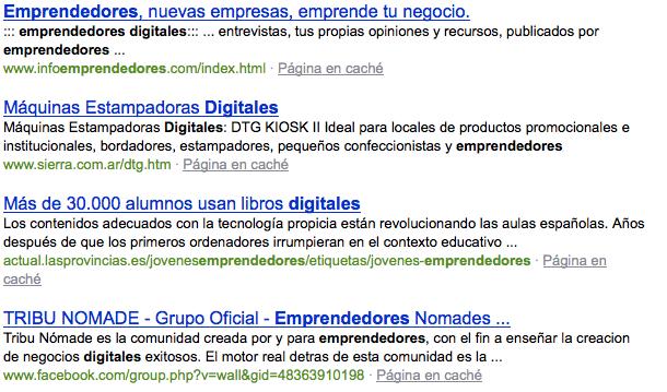 Búsqueda en Bing de Emprendedores Digitales