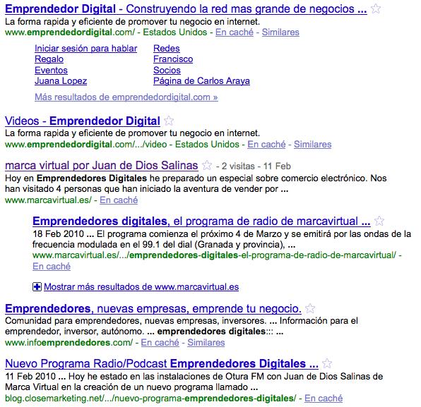 Busqueda en Google de Emprendedores Digitales