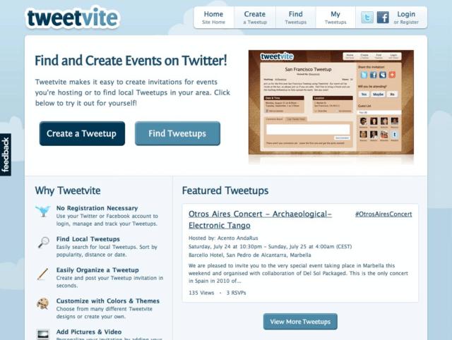 Tweetvite - Haz invitaciones de eventos en Twitter