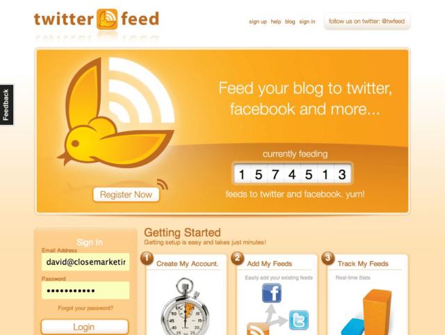 Twitter feed publica tu blog en Twitter