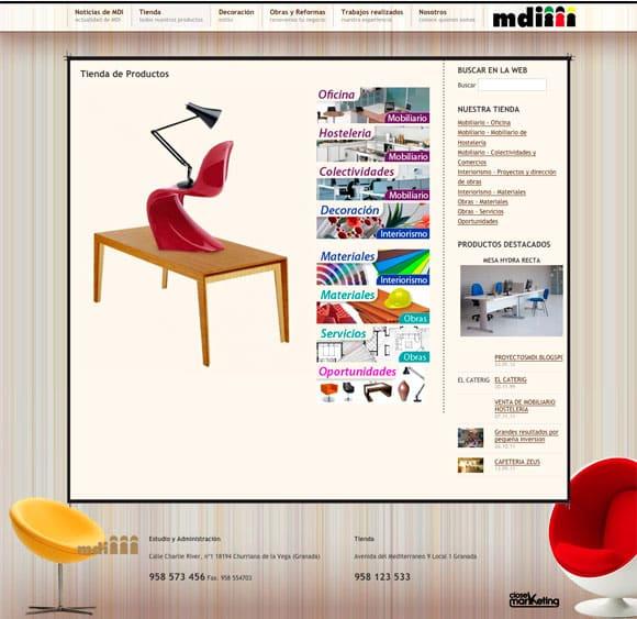 Diseño Web ProyectosMDI para Tienda Equipamiento Comercial