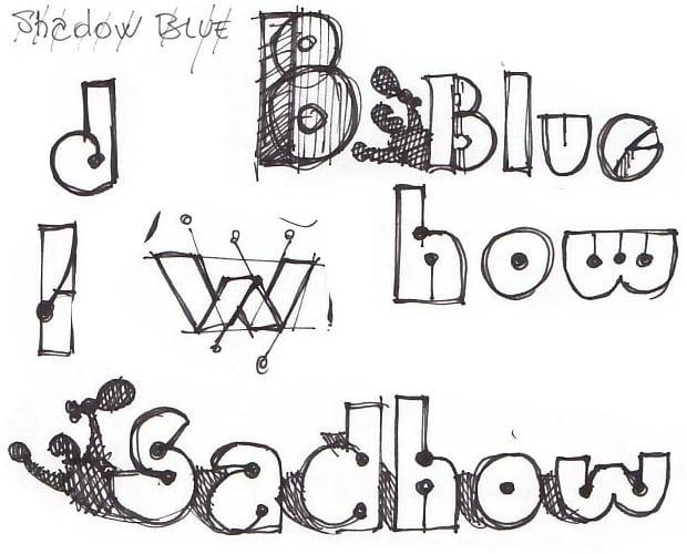 Bocetos realizados antes del diseño del Logotipo Blue Shadow