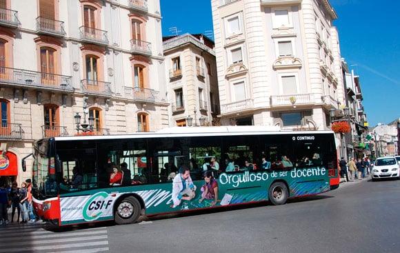Campaña Publicidad Autobus Granada CSIF Sindicato