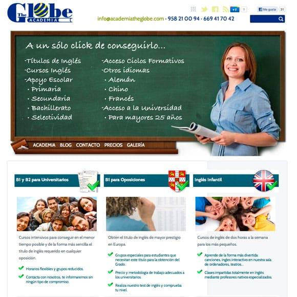 Diseño Web Academia Inglés The Globe