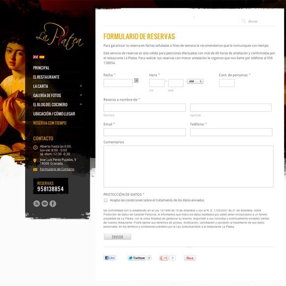 Diseño Web Restaurante La Platea Reservas de Mesa