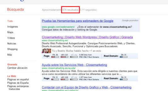 Resultados Indexación en buscadores