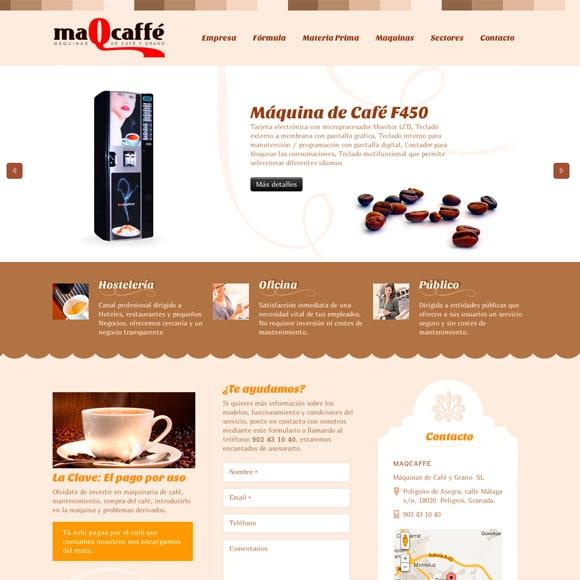 Muestra del Diseño Web de la Página de Inicio Maqcaffe