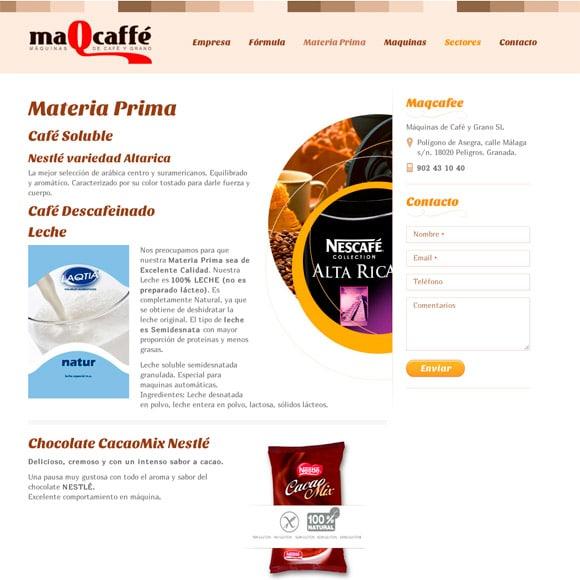 Muestra del Diseño Web de la Página Materia Prima Maqcaffe