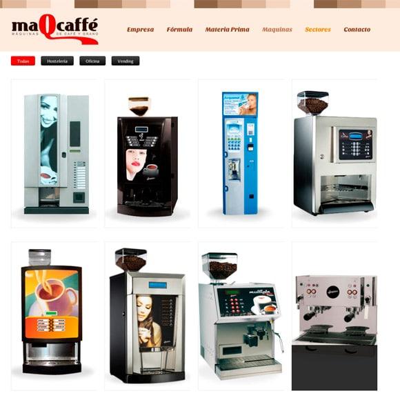 Muestra del Diseño Web de la Página Máquinas Maqcaffe