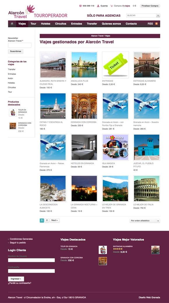 Vista Categoría Viajes para Tienda Online Alarcon travel