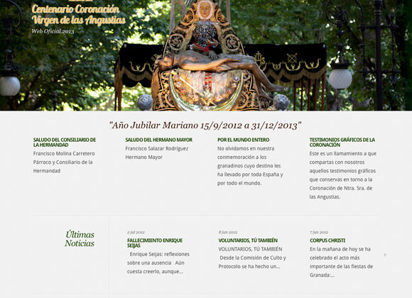 Diseño Página Web Centenario Coronación Virgen de las Angustias de Granada