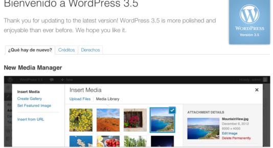 Nueva Versión Wordpress 3.5