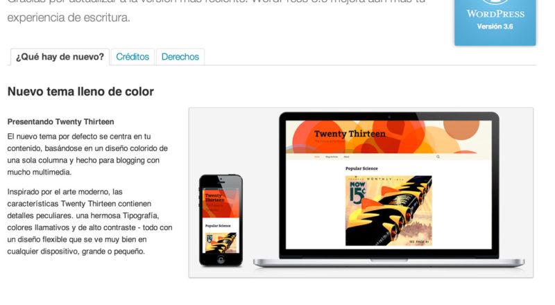 Nuevo Wordpress 3.6