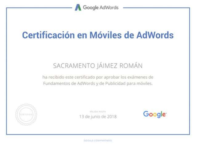 Certificado Google Adwords de Sacramento