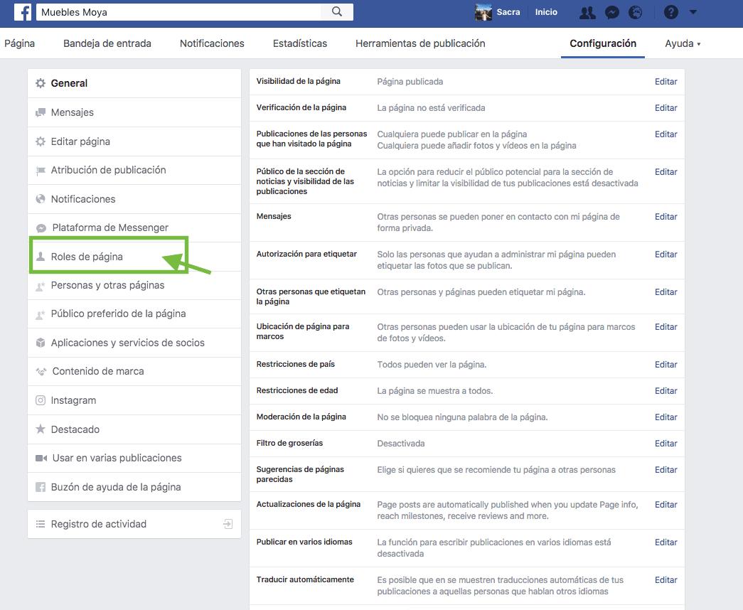 paso 2 administracion pagina de facebook