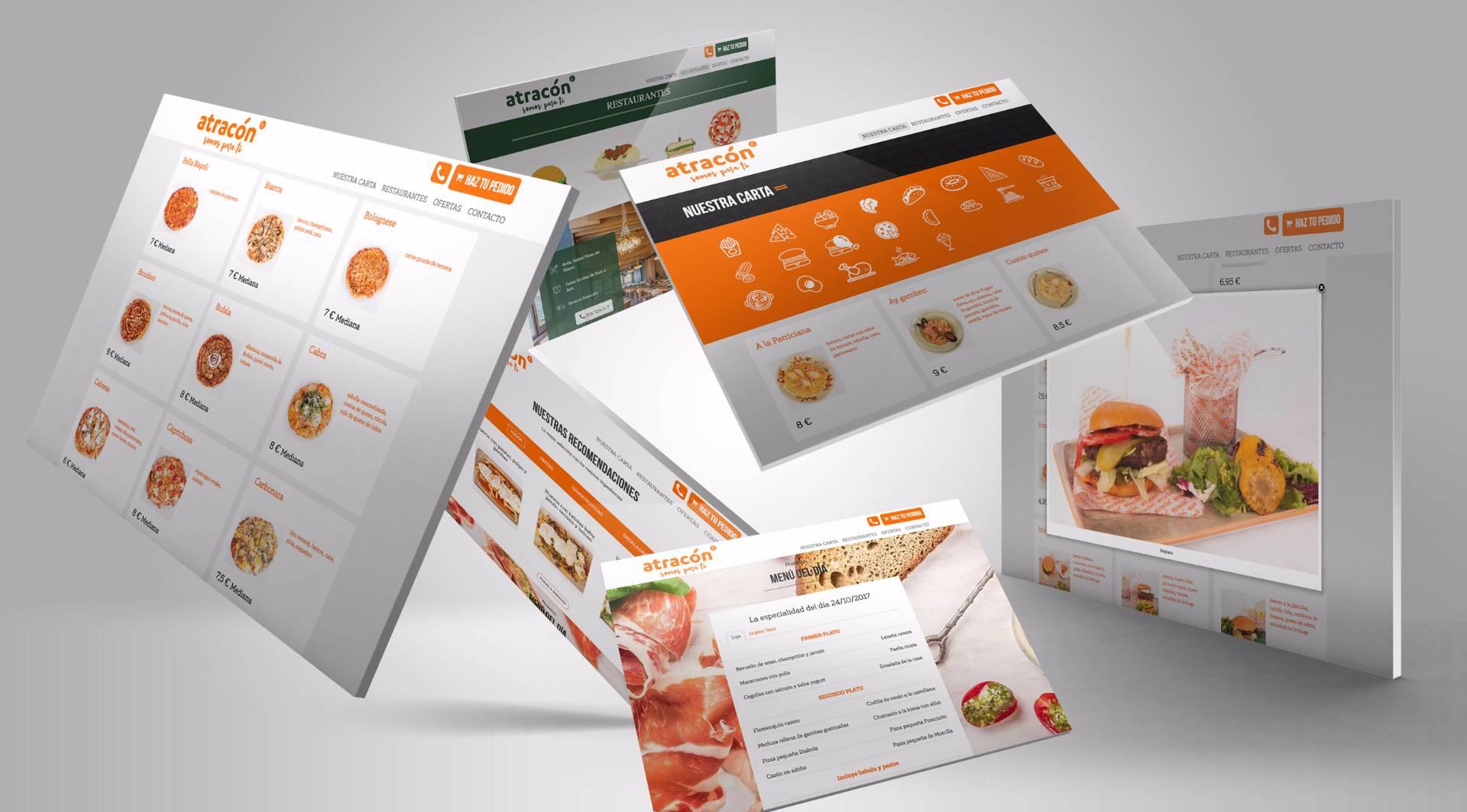 Tienda online con pedidos a domicilio de restaurante Atracón