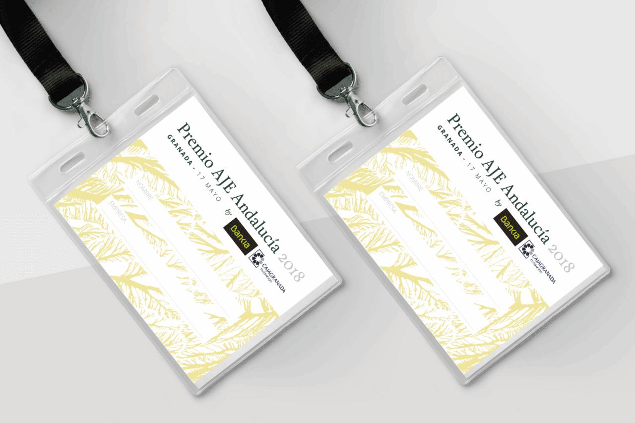 Diseño Gráfico Acreditación Premios AJE Andalucía 2018
