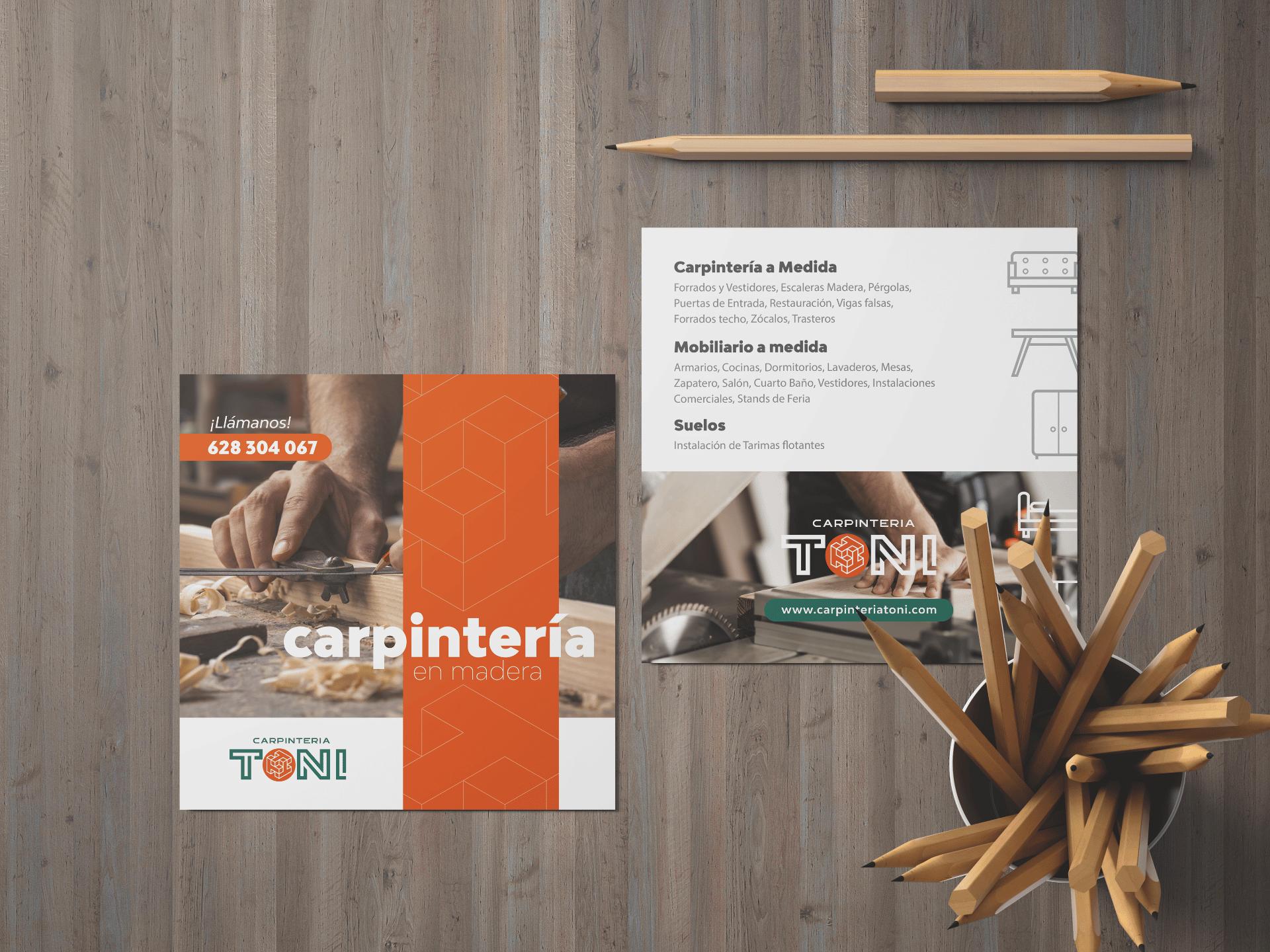 Diseño Identidad Corporativa Carpintería Toni - Agencia de Marketing rojo