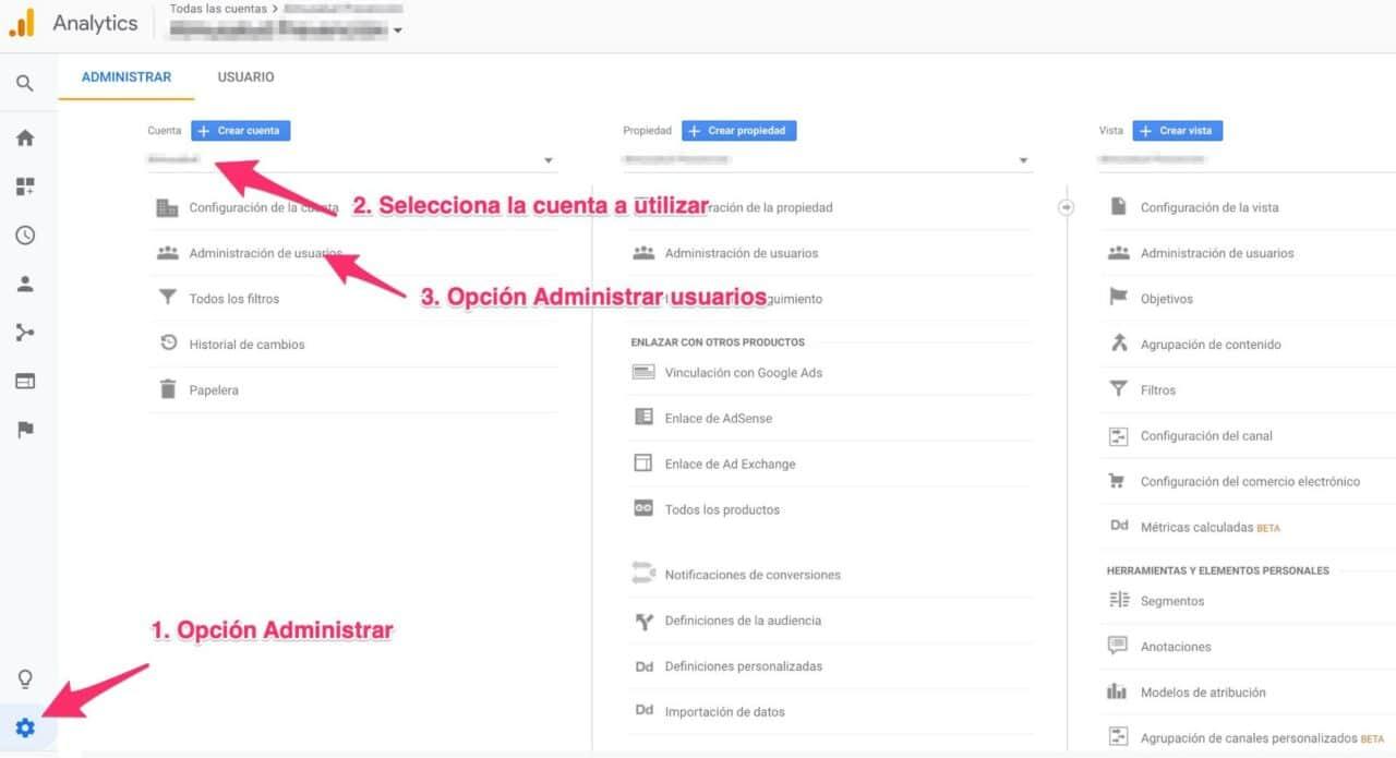 Ajustes de Google Analytics para añadir usuarios