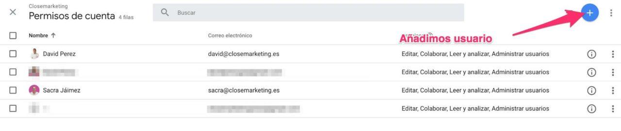 Añadir usuario en Google Analytics
