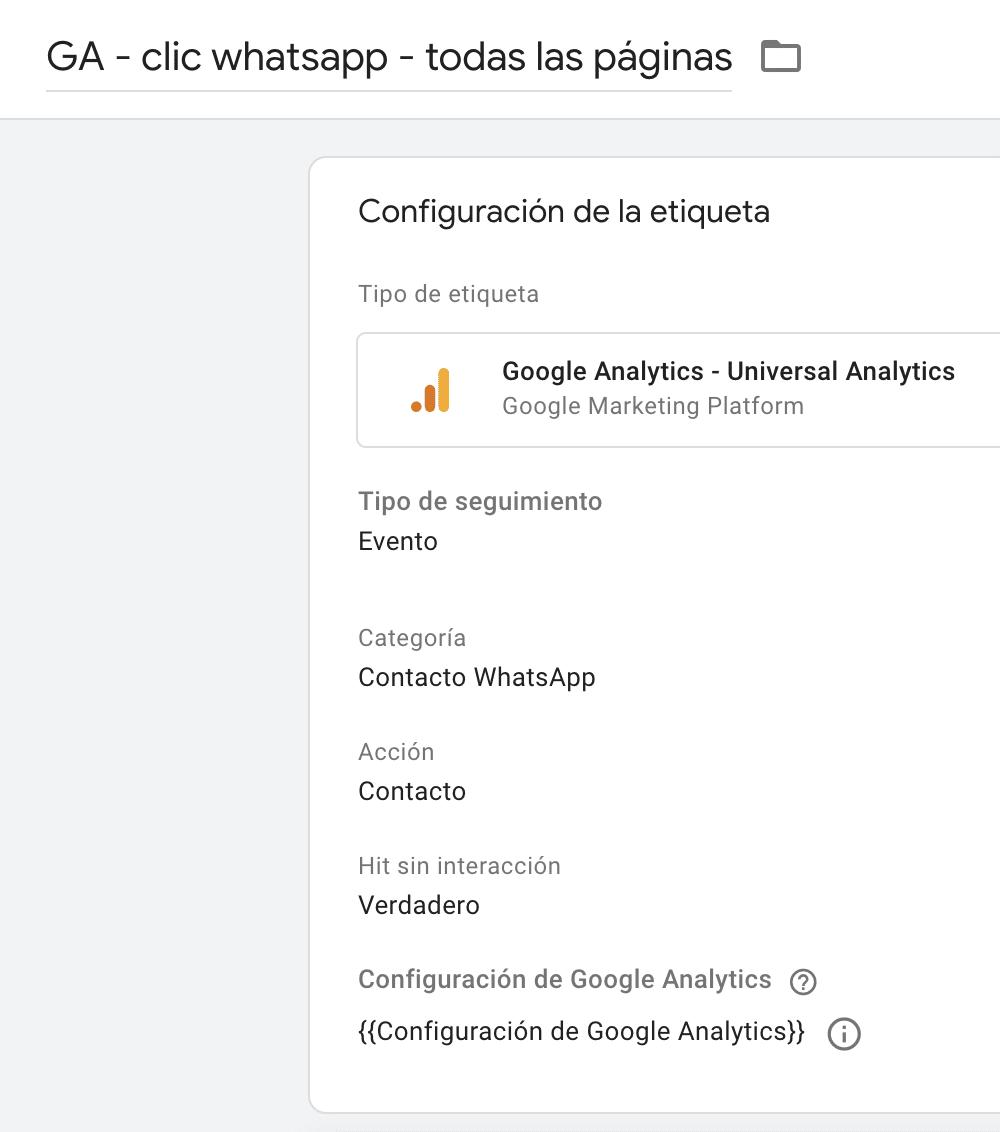 Evento WhatsApp Google Analytics