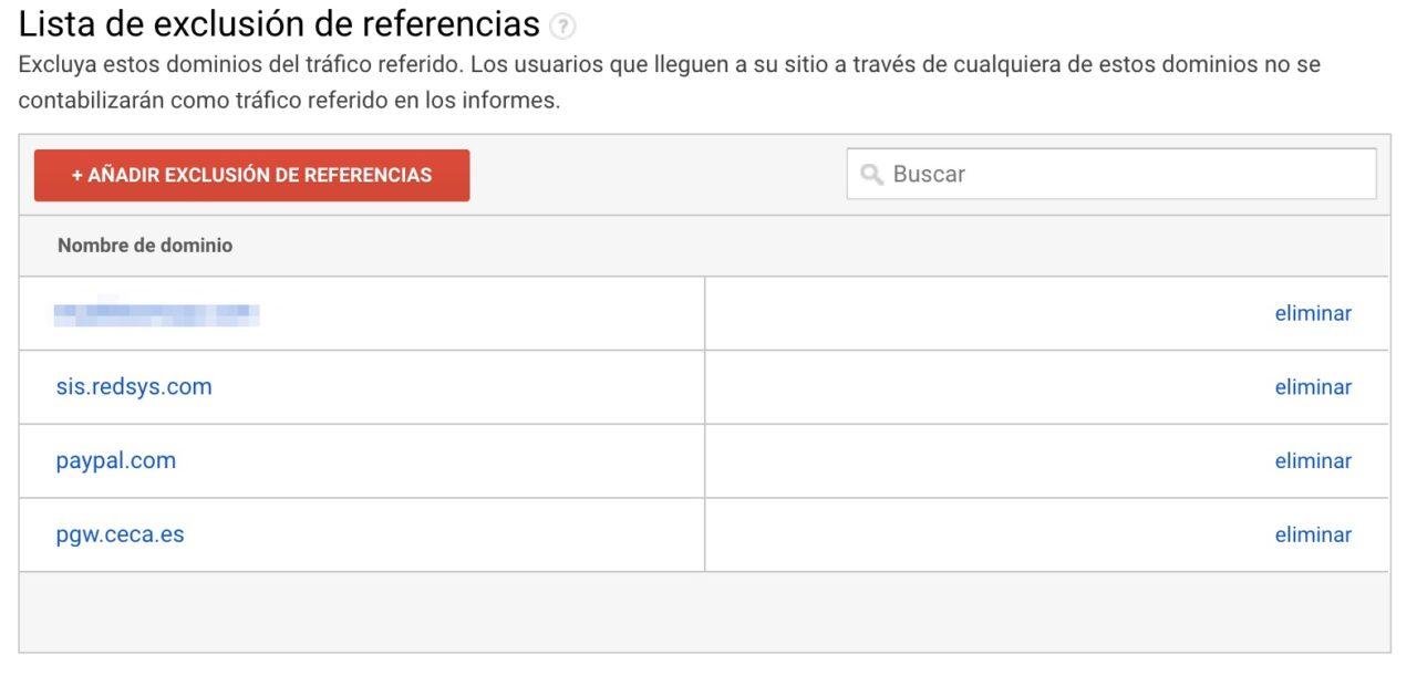 Lista Dominios Exluidos en Google Analytics para pasarelas TPV