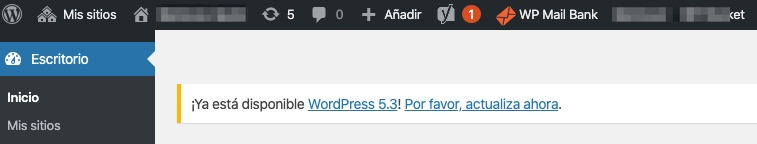Aviso Actualizacion WordPress 5 3