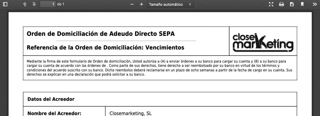 Pdf Domiciliacion Sepa