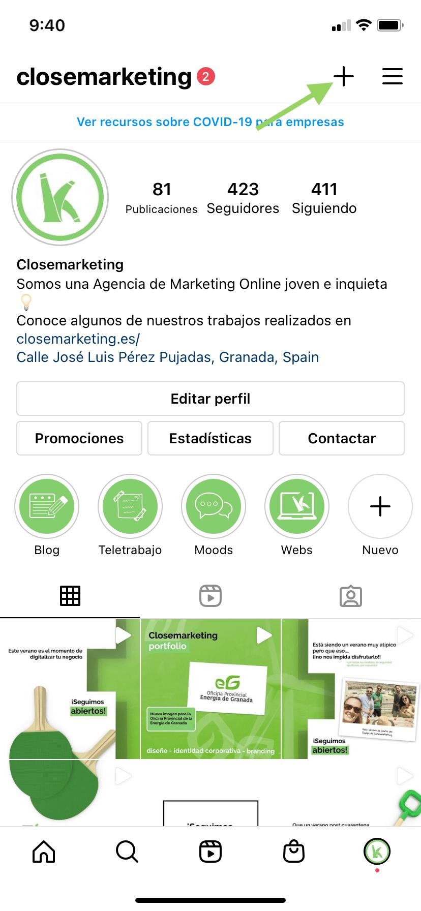 Paso Uno Crear Una Guia En Instagram